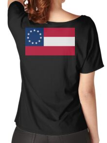 Stars & Bars, USA, America, First American National Flag, 11 stars, 1861, on black Women's Relaxed Fit T-Shirt