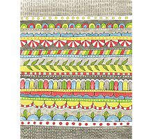 hand drawn, bright colorful patterned stripes Photographic Print