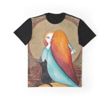 Art Deco Girl and Cat Graphic T-Shirt
