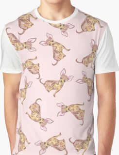 Cute Chihuahua Watercolor Painted Pink Brown Graphic T-Shirt