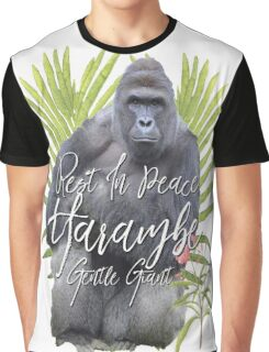 Harambe RIP Silverback Gorilla Gentle Giant Watercolor Tribute Animal Rights Activist Zoo Graphic T-Shirt