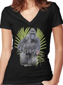 Harambe RIP Silverback Gorilla Gentle Giant Watercolor Tribute Animal Rights Activist Zoo Women's Fitted V-Neck T-Shirt