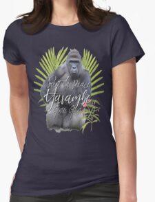 Harambe RIP Silverback Gorilla Gentle Giant Watercolor Tribute Cincinnati Zoo Womens Fitted T-Shirt