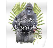 Harambe RIP Silverback Gorilla Gentle Giant Watercolor Tribute Cincinnati Zoo Poster
