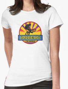 MOUNTAIN BIKE DURANGO COLORADO BIKING MOUNTAINS Womens Fitted T-Shirt