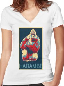 Harambe RIP Silverback Gorilla Gentle Giant Obama Style Poster Tribute Cincinnati Zoo Women's Fitted V-Neck T-Shirt