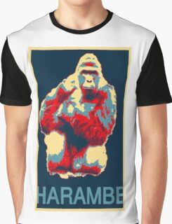 Harambe RIP Silverback Gorilla Gentle Giant Obama Style Poster Tribute Zoo Graphic T-Shirt