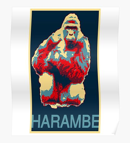 Harambe RIP Silverback Gorilla Gentle Giant Obama Style Poster Tribute Zoo Poster