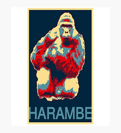 Harambe RIP Silverback Gorilla Gentle Giant Obama Style Poster Tribute Zoo Photographic Print