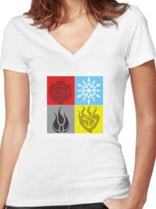 RWBY Symbols Women's Fitted V-Neck T-Shirt