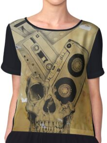 Skull Mix Cassette Tapes Chiffon Top