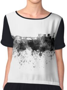 Luxembourg skyline in black watercolor Chiffon Top