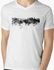 Luxembourg skyline in black watercolor Mens V-Neck T-Shirt