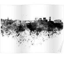 Luxembourg skyline in black watercolor Poster