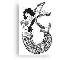 Mermaid With Tattoos Illustration Canvas Print