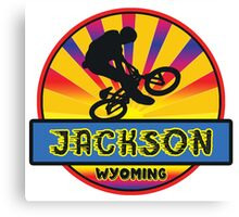 MOUNTAIN BIKE JACKSON WYOMING BIKING MOUNTAINS Canvas Print