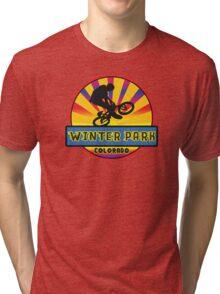 MOUNTAIN BIKE WINTER PARK COLORADO BIKING MOUNTAINS Tri-blend T-Shirt