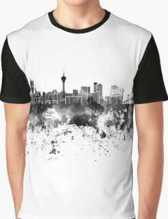 Macau skyline in black watercolor Graphic T-Shirt