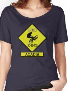 MOUNTAIN BIKE ACADIA MAINE BIKE XING CROSSING BIKING MOUNTAINS Women's Relaxed Fit T-Shirt