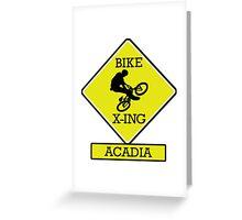MOUNTAIN BIKE ACADIA MAINE BIKE XING CROSSING BIKING MOUNTAINS Greeting Card