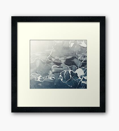 Blue Sea Marble Framed Print