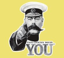 World War One, Lord Kitchener, WW1, Your Country needs you! Recruitment Poster, on BLACK One Piece - Short Sleeve