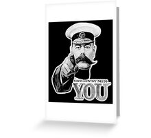World War One, Lord Kitchener, WW1, Your Country needs you! Recruitment Poster, on BLACK Greeting Card
