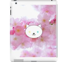 Nova - White Cat Blue Yellow Eyes - Cherry Blossom Background iPad Case/Skin