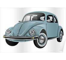 BEETLE, VW, Volkswagen, Bug, Motor, Car, Blue Poster