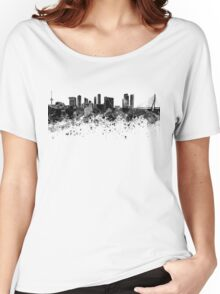 Rotterdam skyline in black watercolor Women's Relaxed Fit T-Shirt