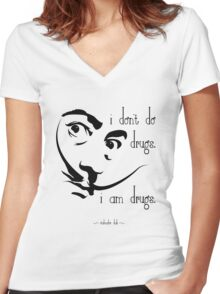 Dali I Am Drugs Women's Fitted V-Neck T-Shirt