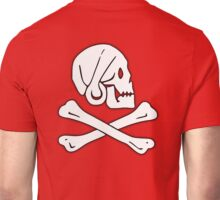 Jolly Roger, Henry Every, PIRATE FLAG, Skull & Crossbones, Pirate, Crew, Buccaneer, White on Red Unisex T-Shirt
