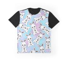 Cute Bunny with Coffee Frappe on Pink Blue Haze Graphic T-Shirt