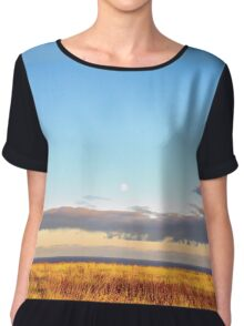 Sunset on Golden Field - Aberdeenshire, Scotland Chiffon Top