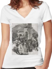 Covent Garden Market, London, England in the 19th Century Women's Fitted V-Neck T-Shirt