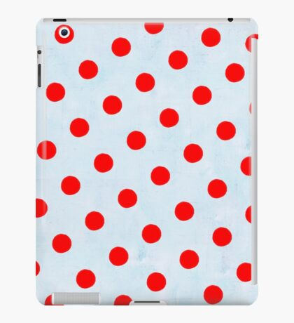 Red Polka Dots and Blue Background iPad Case/Skin