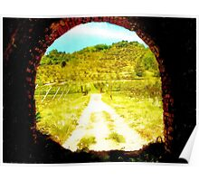 Pieve di Tho: tunnel with country landscape Poster