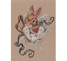 Angel Bunny (with harp and halo) Photographic Print
