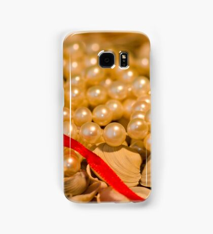 Red ribbon and pearls Samsung Galaxy Case/Skin