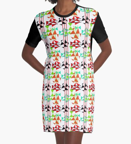 Trendy Bold Bright Colorful Abstract Geometric Design Graphic T-Shirt Dress
