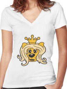 queen princess crown queen face head girl woman female Teddy Bear comic cartoon sweet cute Women's Fitted V-Neck T-Shirt