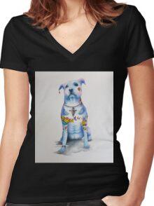 Pit Bull Tattoo Dog Women's Fitted V-Neck T-Shirt