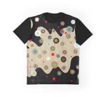 Asimetric Black Happy Old Circles Graphic T-Shirt