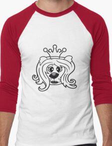 queen princess crown queen face head girl woman female Teddy Bear comic cartoon sweet cute Men's Baseball ¾ T-Shirt
