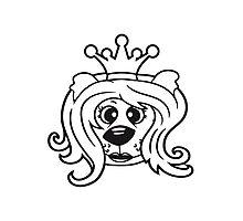 queen princess crown queen face head girl woman female Teddy Bear comic cartoon sweet cute Photographic Print