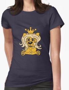 queen crown female princess queen woman scepter sitting Teddy comic cartoon sweet cute Womens Fitted T-Shirt