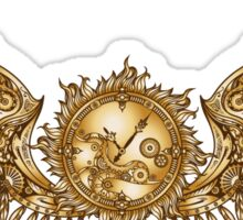 Mechanical wings in steampunk style with clockwork. Gold and black color. Sticker