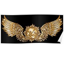 Mechanical wings in steampunk style with clockwork. Gold and black color. Poster