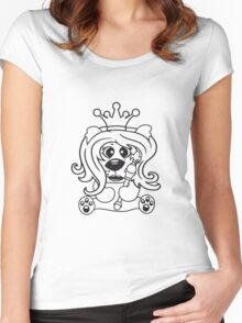 queen crown female princess queen woman scepter sitting Teddy comic cartoon sweet cute Women's Fitted Scoop T-Shirt