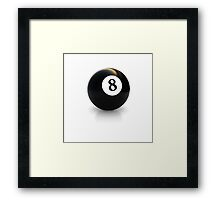 billiard pool ball with number eight 8 solid black Framed Print